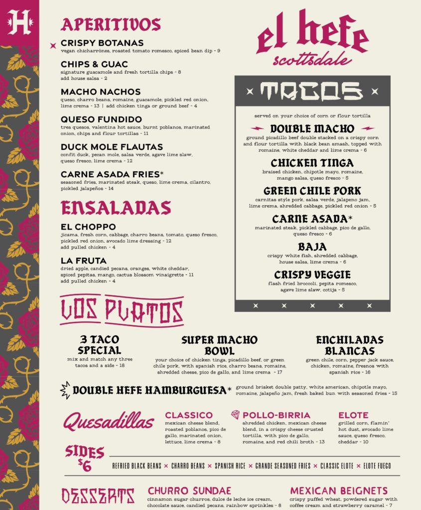 Main food menu